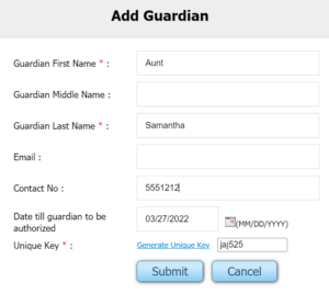 Guardian Authorization Sign up form