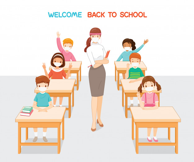 welcome-back-school-teacher-students-wearing-surgical-mask-relaxing-classroom_260807-18